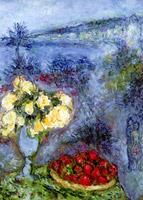 Fleurs et fruits devant la mer