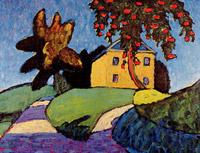 Gelbes haus mit apfelbaum, um 1910