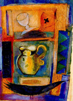 Collaged jug