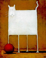 White cat with ball